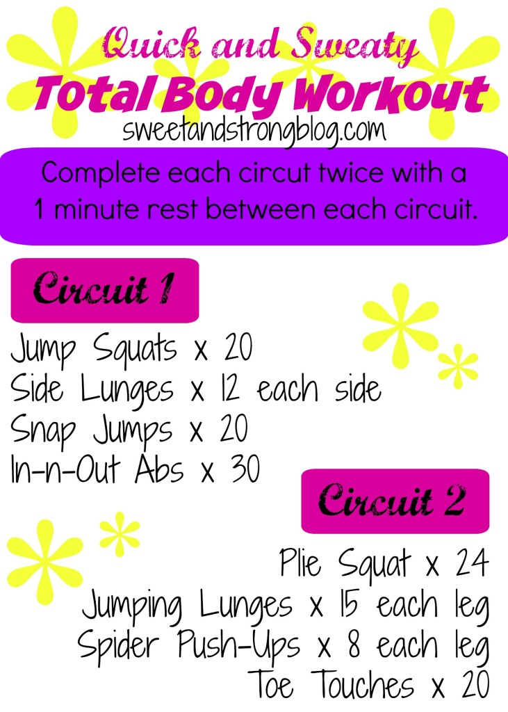 Total Body Circuit Workout.  Quick and Sweaty.