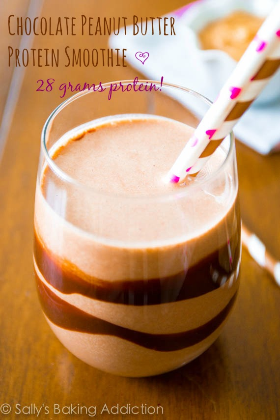 Chocolate Peanut Butter Protein Smoothie by Sallys Baking Addiction