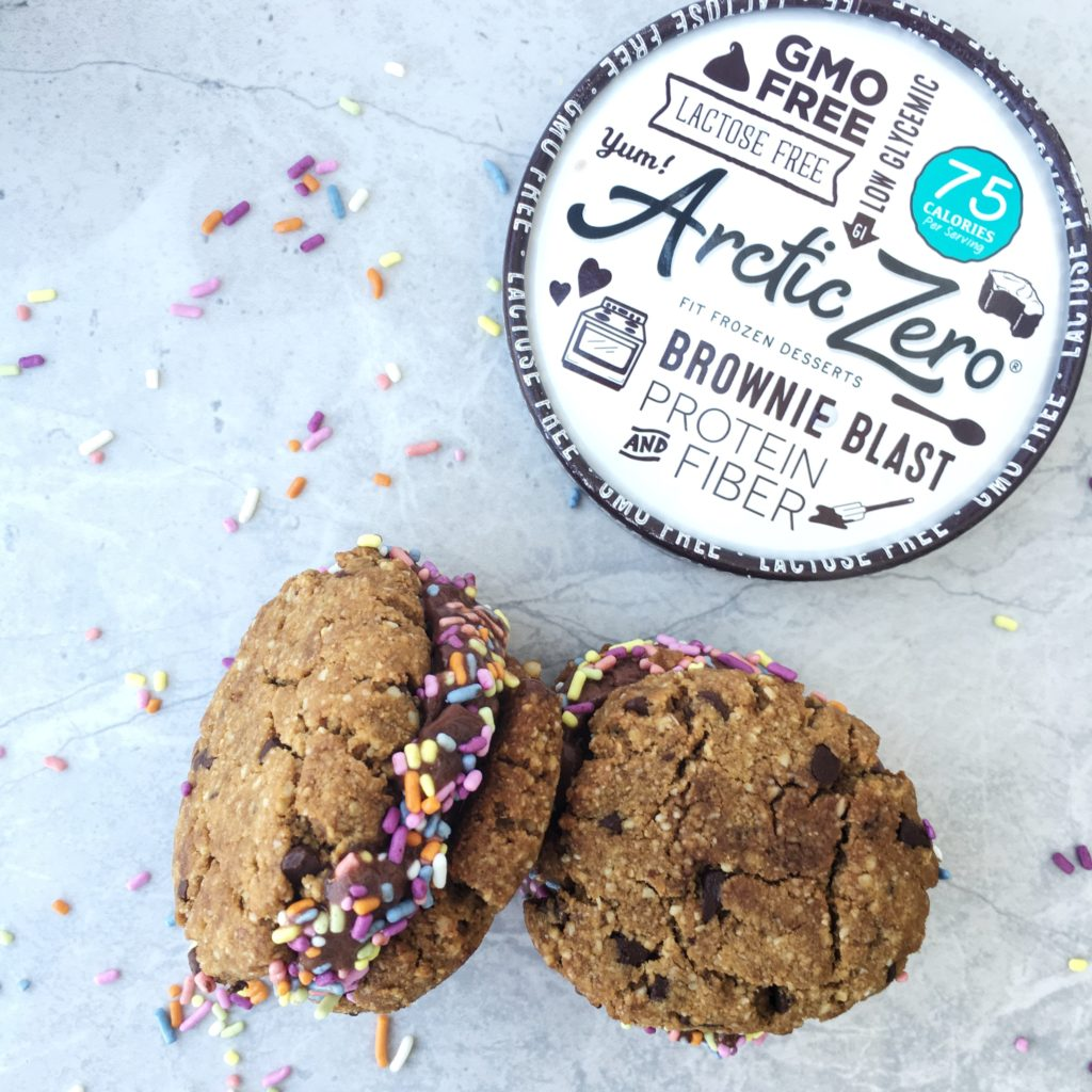 Paleo Chocolate Chip Cookie and Arctic Zero Brownie Blast Sandwich -Sweet and Strong Blog