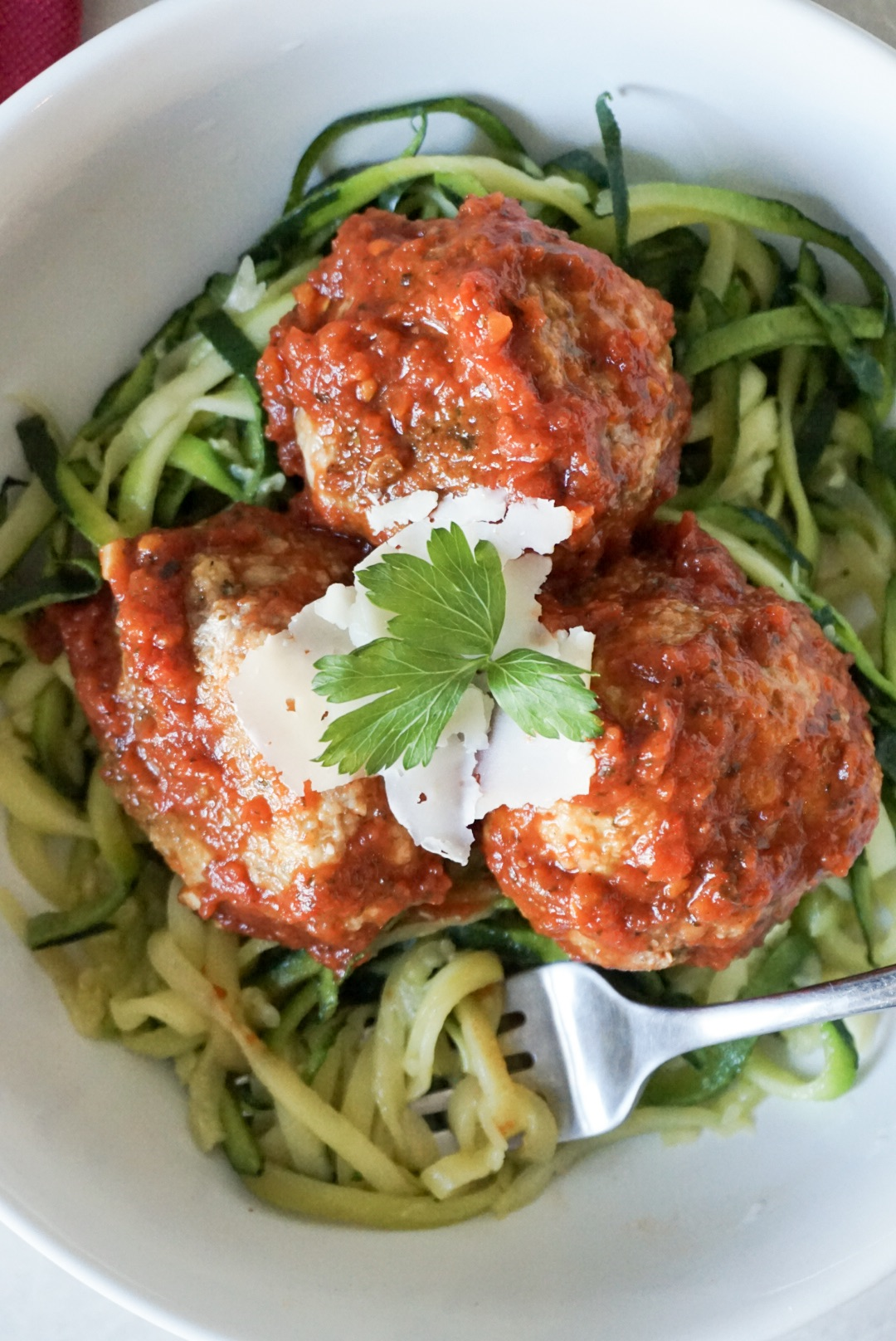 Healthy Baked Turkey Meatballs with homemade marinara and zucchini noodles