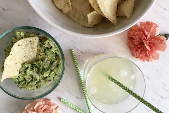 Spicy Jalapeno Margaritas, homemade guacamole, and Late of July Tortilla Chips