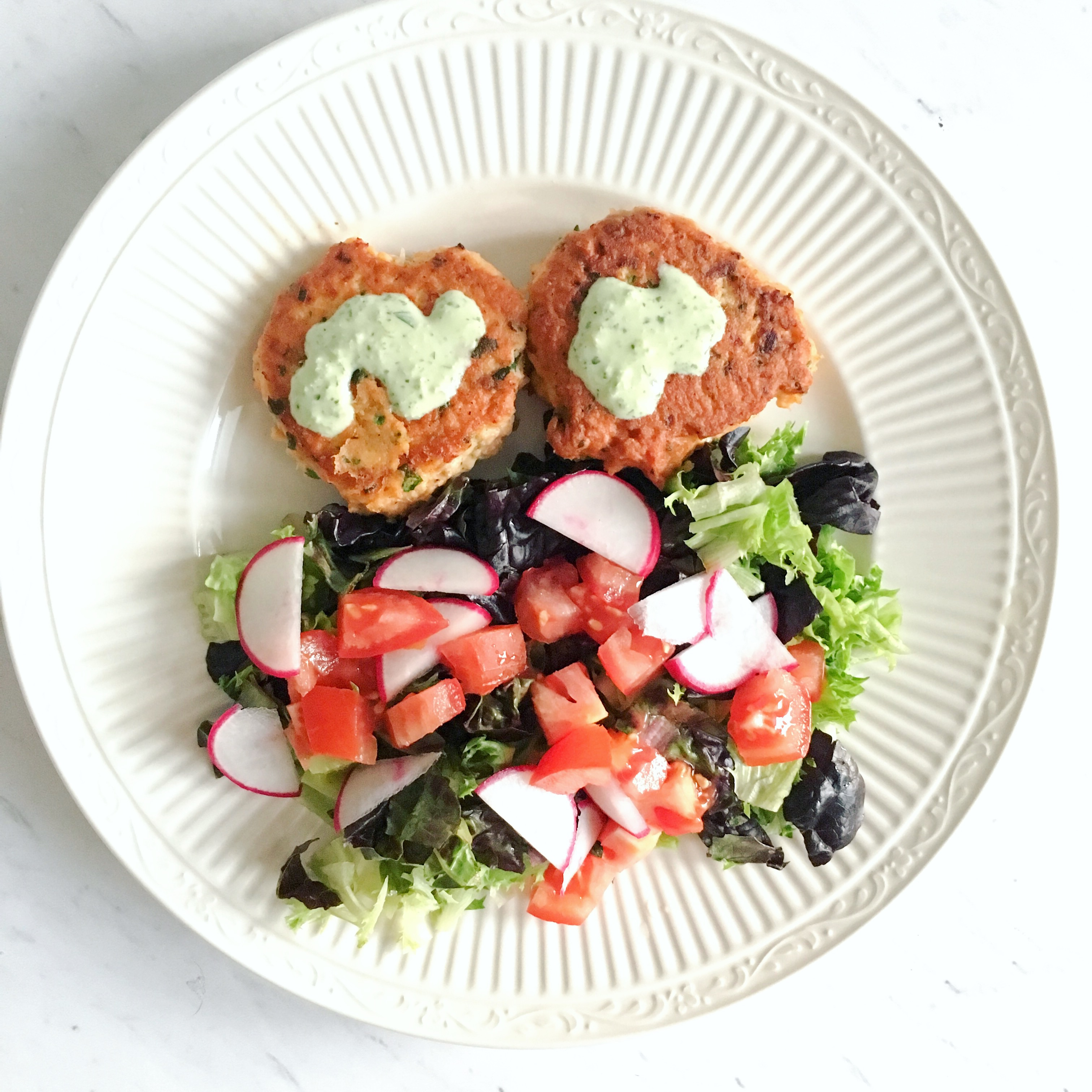Homemade Salmon Cakes with green goddess dressing