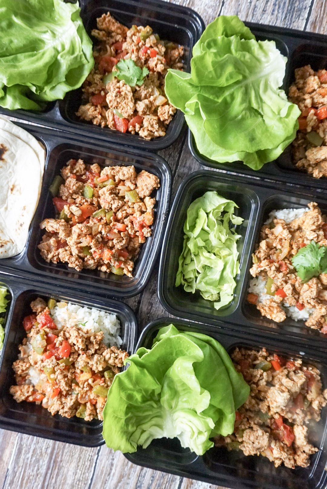Meal Prep Taco Bowls with grain and topping of choice