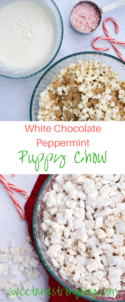 White Chocolate Peppermint Puppy Chow Recipe by Sweet and Strong Blog