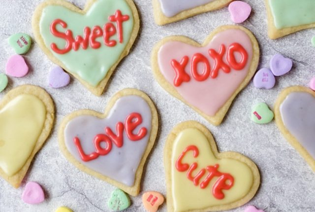 Valentines Day Sugar Cutout Heart Cookies