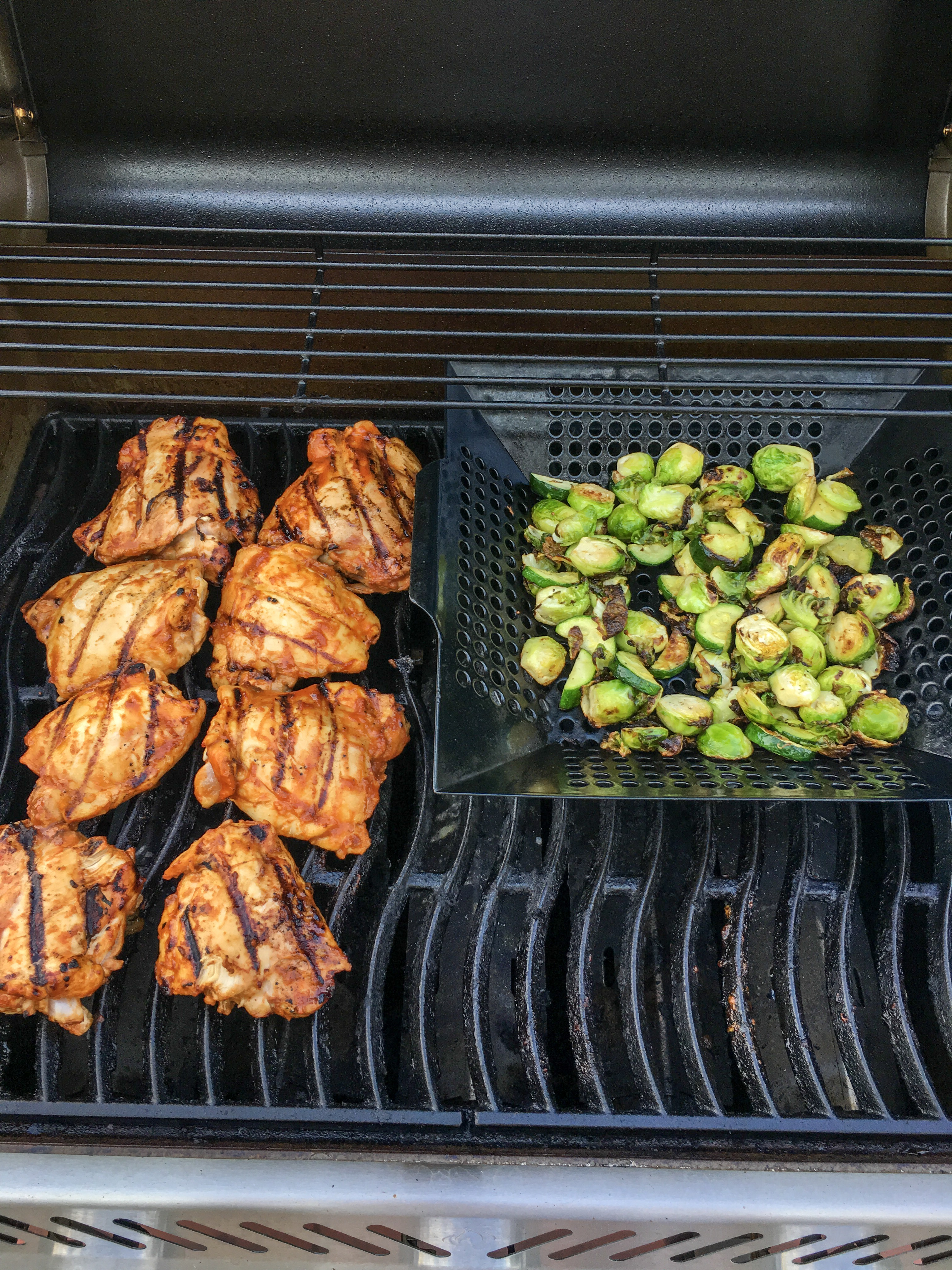 Grilled BBQ Chicken and Vegetables