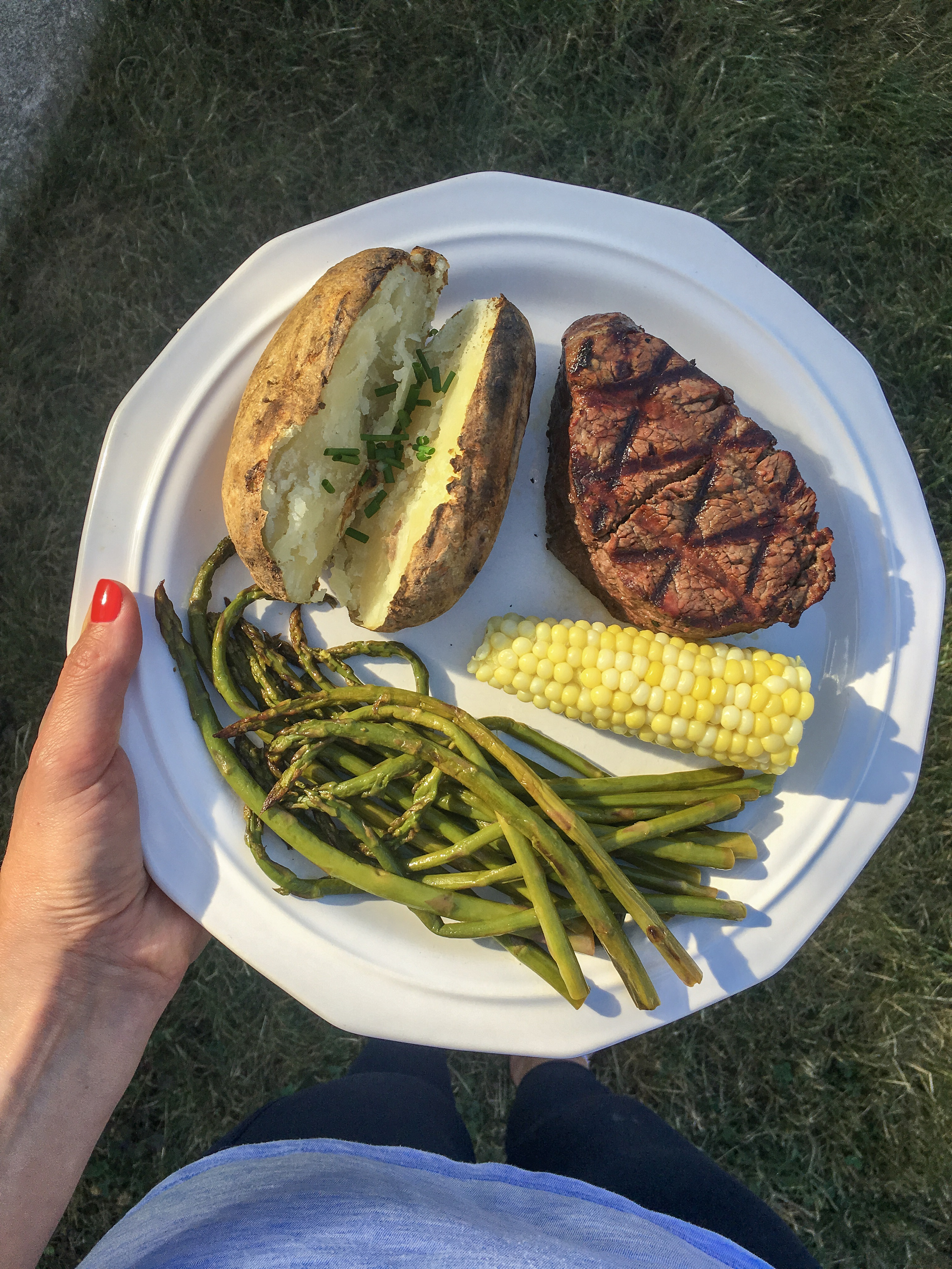 Giant Eagle Steak, Potatoes, and Asparagus