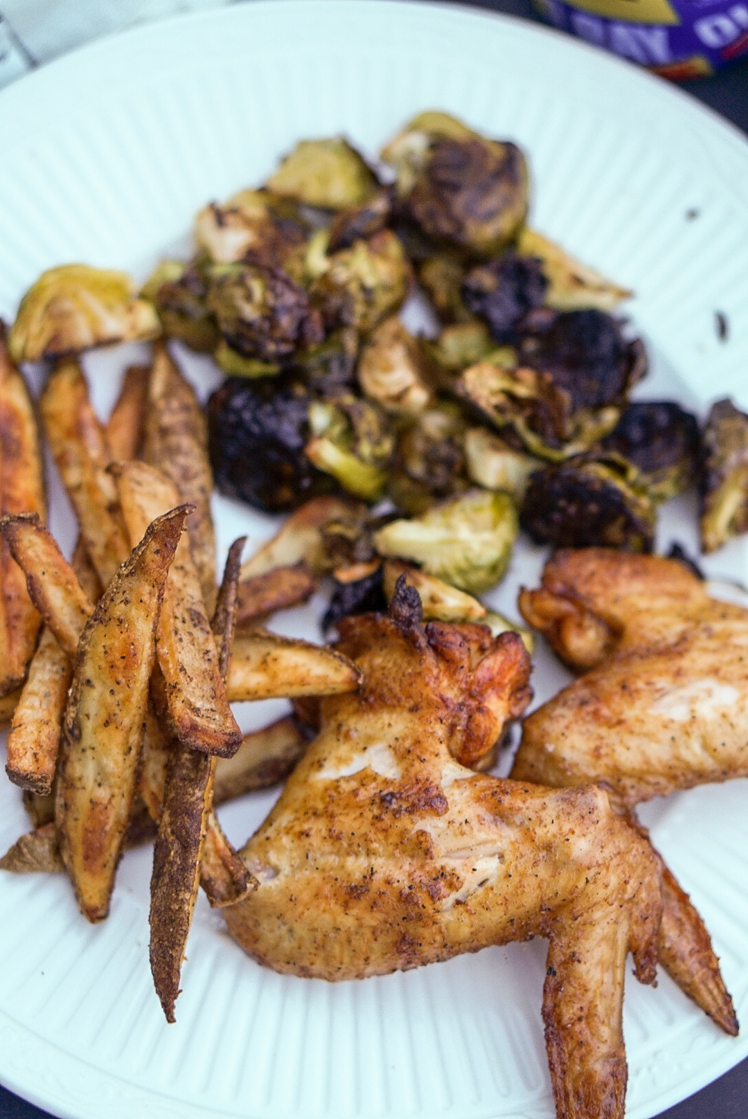 Chicken Wings on the Traeger Grill and Oven Roasted Fries and Vegetables