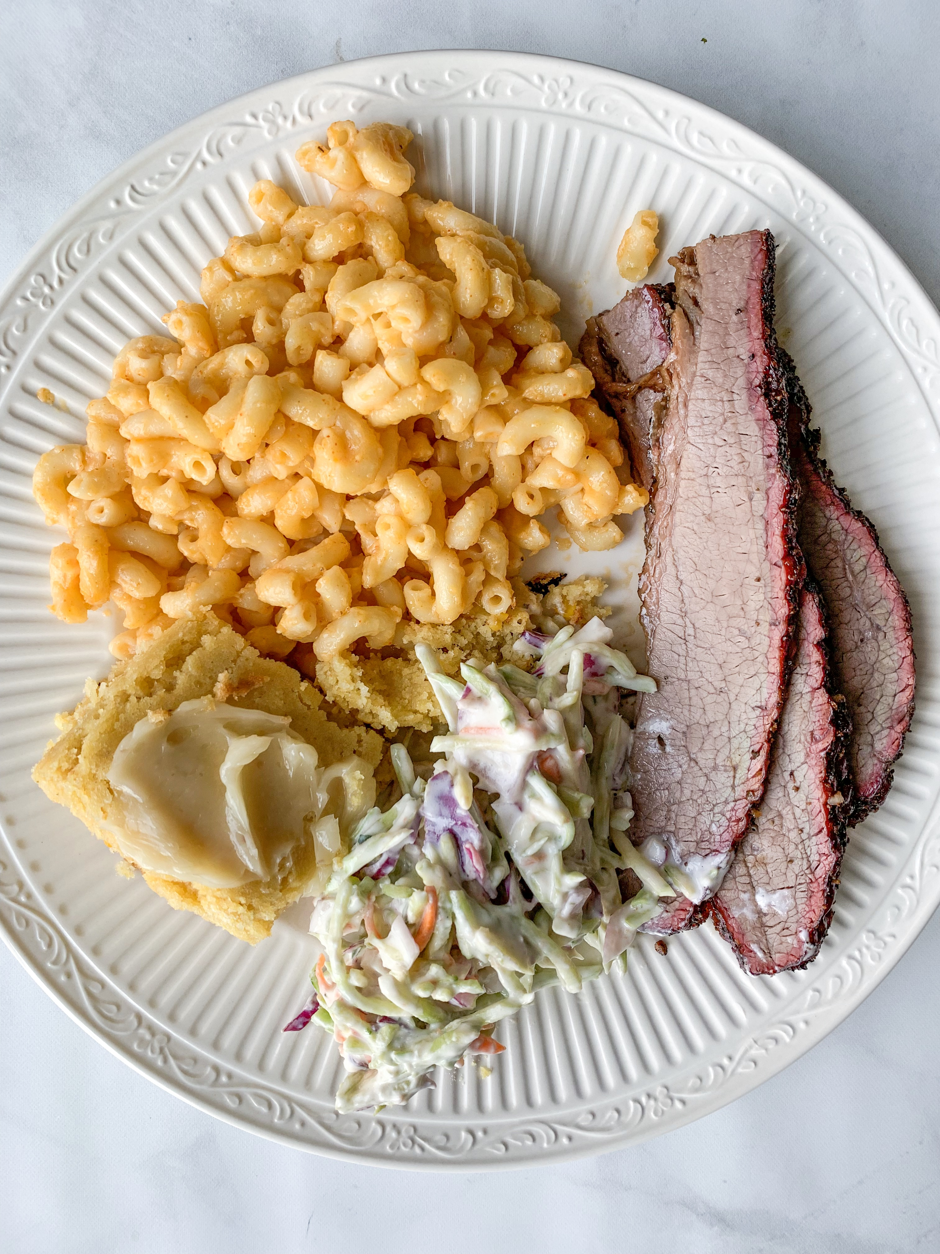 Fathers Day Menu, Brisket, mac and cheese, cornbread, and slaw